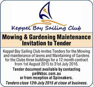 Mowing & Gardening Maintenance Invitation to Tender    Keppel Bay Sailing Club invites Tenders for the Mowing and maintenance of lawns and Maintaining of Gardens for the Clubs three buildings for a 12 month contract from 1st August 2015 to 31st July 2016.   Tender document available from reception at Spinnakers.   Tenders close ...