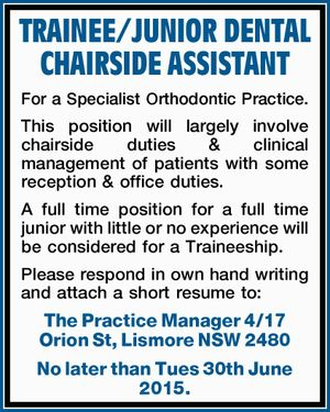 TRAINEE/JUNIOR DENTAL CHAIRSIDE ASSISTANT 