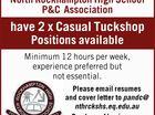 2 x Casual Tuckshop Positions