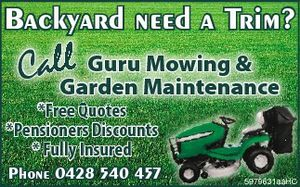 Backyard need a Trim?    * Free Quotes   * Pensioners Discounts   * Fully Insured    Phone 0428 540 457