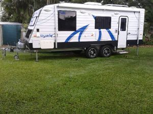 2012 Windsor Royale 21'6, semi off-road, Q/S bed, a/c, solar, dual batteries, r/o awning, shower/toilet, w/mach, lge fridge 185L, 4 burner stove + grill oven, set up for free camping, $55,000. 0437321386