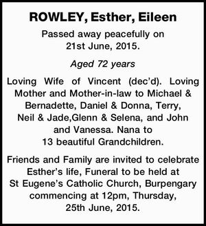 ROWLEY, Esther, Eileen