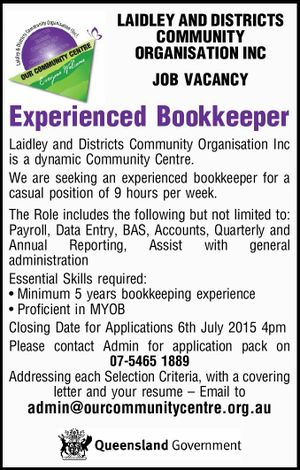 LAIDLEY AND DISTRICTS COMMUNITY ORGANISATION INC JOB VACANCY
