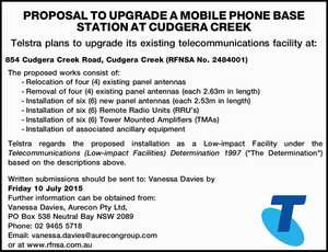 PROPOSAL TO UPGRADE A MOBILE PHONE BASE STATION AT CUDGERA CREEK Telstra plans to upgrade its existing telecommunications facility at: 854 Cudgera Creek Road, Cudgera Creek (RFNSA No. 2484001) The proposed works consist of: -Relocation of four (4) existing panel antennas -Removal of four (4) existing panel antennas (each 2 ...