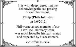It is with deep regret that we acknowledge the sad passing of our Pharmacist,