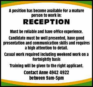 A position has become available for a mature