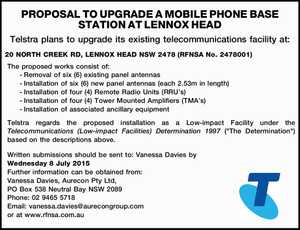 Telstra plans to upgrade its existing telecommunications facility at: 20 NORTH CREEK RD, LENNOX HEAD NSW 2478 (RFNSA No. 2478001) The proposed works consist of: -Removal of six (6) existing panel antennas -Installation of six (6) new panel antennas (each 2.53m in length) -Installation of four (4) Remote Radio ...