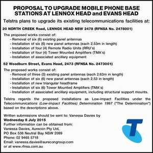 Telstra plans to upgrade its existing telecommunications facilities at: 20 NORTH CREEK Road, LENNOX HEAD NSW 2478 (RFNSA No. 2478001) The proposed works consist of: -Removal of six (6) existing panel antennas -Installation of six (6) new panel antennas (each 2.53m in length) -Installation of four (4) Remote Radio ...