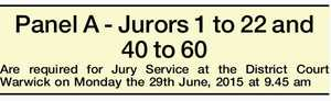 Panel A - Jurors 1 to 22 and 40 to 60 Are required for Jury Service at the District Court Warwick on Monday the 29th June, 2015 at 9.45 am