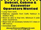 Bobcat, Cobmo & Excavator Operators Wanted