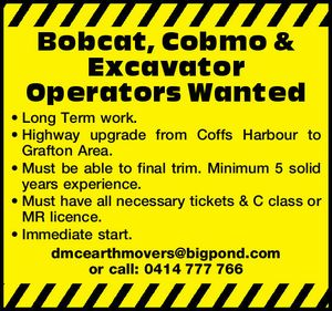 Bobcat, Cobmo & Excavator Operators Wanted 