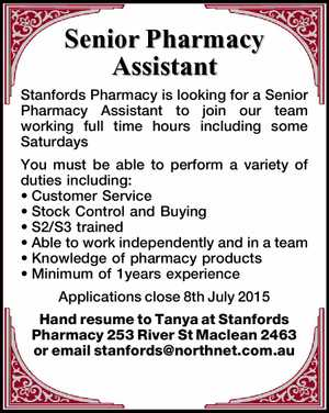 Stanfords Pharmacy is looking for a Senior Pharmacy Assistant to join our team working full time hours including some Saturdays