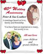 40 th Wedding Anniversary Peter & Sue Leather A marriage based on love, family and friendship. You have been an inspiration to many, but mostly to us. All our love your children and grand children
