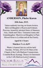 ANDERSON, Phebe Karen 20th June, 2015. Taken suddenly leaving our hearts broken. Beloved Daughter of Karen and Graham. Precious, beautiful, talented Sister of Shannon, Amy, Sarah and Chloe. Treasured Aunty and Granddaughter. Much loved Daughter to Paul, Missed Sister to Lochlan and all the Family. Aged 16 12 Years Matthew ...