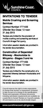 INVITATIONS TO TENDER Mobile Crushing and Screening Services Contract Number: ITT1426 QTender Box Close: 12 noon 21 July 2015 Tenders are invited for the provision of mobile crushing and screening services at Council's Image Flat quarry. Information session details are provided in the tender documentation. Construction of Separated Bikeway ...
