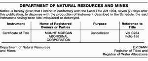 Notice is hereby given that I intend in conformity with the Land Title Act 1994, seven (7) days after this publication, to dispense with the production of Instrument described in the Schedule, the said instrument having been lost, misplaced or destroyed. Instrument Name of Registered Owners or Parties Purpose Reference ...