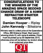 CONGRATULATIONS TO THE WINNERS OF THE AMAZING SPACE SECOND CHANCE DRAW OF A 50MM REFRACTOR STARTER TELESCOPE Damien Hooper - Ripley John Kennedy - Silkstone Winners need to collect prize at the Queensland Office, 260 Brisbane Street, West Ipswich showing photo ID, with name & address. Prizes must be picked up by 30 ...