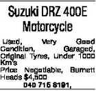 Suzuki DRZ 400E Motorcycle Used, Very Good Condition, Garaged, Original Tyres, Under 1000 Km's Price Negotiable, Burnett Heads $4,500 040 715 8191,