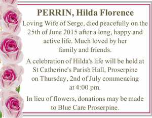 PERRIN, Hilda Florence