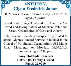 ANTHONY, Glynn Frederick James
