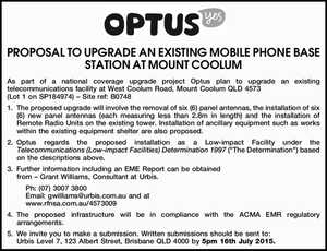As part of a national coverage upgrade project Optus plan to upgrade an existing telecommunications facility at West Coolum Road, Mount Coolum QLD 4573 (Lot 1 on SP184974) – Site ref: B0748 1.The proposed upgrade will involve the removal of six (6) panel antennas, the installation of six (6) new ...