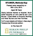 STUMER, Melinda Kay Passed away peacefully on 30th June, 2015. Aged 38 Years Dearly beloved Mother of Scarlett. Much loved Daughter of John (dec'd) and June Stumer. Loved Sister of Amanda Manthey and Peter Stumer and their Families. Full Funeral details will follow in Saturday's Toowoomba Chronicle edition ...