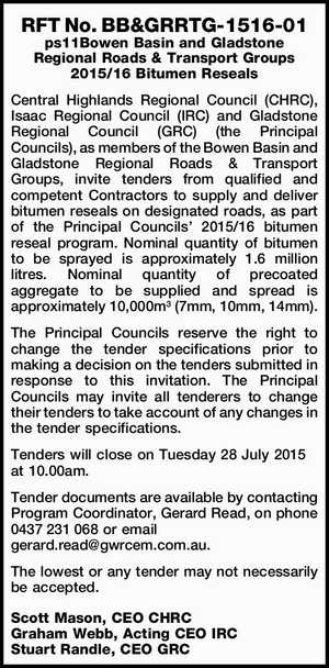 Central Highlands Regional Council (CHRC), Isaac Regional Council (IRC) and Gladstone Regional Council (GRC) (the Principal Councils), as members of the Bowen Basin and Gladstone Regional Roads & Transport Groups, invite tenders from qualified and competent Contractors to supply and deliver bitumen reseals on designated roads, as part of the Principal ...