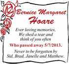 Ever loving memories,   We shed a tear and think of you often   Who passed away 5/7/2013.   Never to be forgotten by   Sid, Brad, Janelle and Matthew.