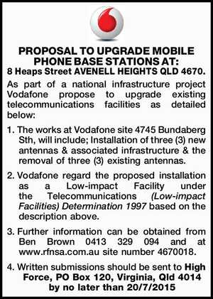 As part of a national infrastructure project Vodafone propose to upgrade existing telecommunications facilities as detailed below: 1.The works at Vodafone site 4745 Bundaberg Sth, will include; Installation of three (3) new antennas & associated infrastructure & the removal of three (3) existing antennas. 2.Vodafone regard the proposed installation as ...