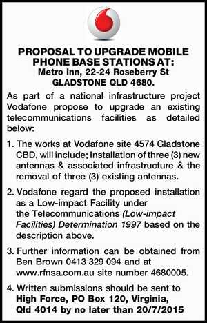 As part of a national infrastructure project Vodafone propose to upgrade an existing telecommunications facilities as detailed below: 1.The works at Vodafone site 4574 Gladstone CBD, will include; Installation of three (3) new antennas & associated infrastructure & the removal of three (3) existing antennas. 2.Vodafone regard the proposed installation ...