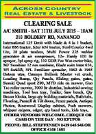 CLEARING SALE A/C SMITH - SAT 11TH JULY 2015 - 10AM 210 BOLDERY RD, NANANGO International 125 Droit with blade & 4 in 1 bucket, Inter 866 tractor, Inter 624 tractor, Ford Courier 4wd Ute, 28 plate tandem, Multi Power 225 welder generator & air compressor, 12v Hardy 100 ltr sprayer, 3pl spray ...