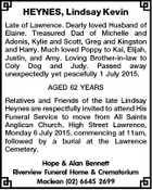 HEYNES, Lindsay Kevin Late of Lawrence. Dearly loved Husband of Elaine. Treasured Dad of Michelle and Adonis, Kylie and Scott, Greg and Kingston and Harry. Much loved Poppy to Kai, Elijah, Justin, and Amy. Loving Brother-in-law to Coly Dog and Judy. Passed away unexpectedly yet peacefully 1 July 2015. AGED ...