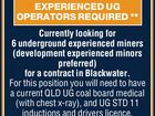 EXPERIENCED UG OPERATORS REQUIRED