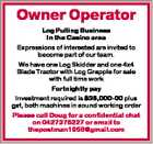 Owner Operator Log Pulling Business In the Casino area Expressions of interested are invited to become part of our team. We have one Log Skidder and one 4x4 Blade Tractor with Log Grapple for sale with full time work Fortnightly pay Investment required is $36,000-00 plus gst, both machines ...