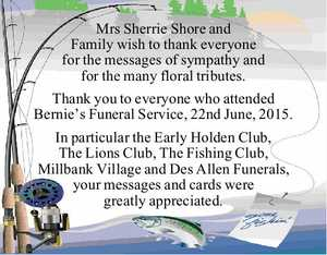 Mrs Sherrie Shore and Family wish to thank everyone for the messages of sympathy and for the many floral tributes.