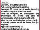 COMMERCIAL CLEANER CASUAL MANUAL DRIVERS LICENCE Full commercial cleaning duties Averages 30 hours per 4 weeks including some morning and afternoon work Must be energetic, fit, enthusiastic and presentable to clients and able to communicate. Work in teams of 2 or 3. Must be able to obtain clear police check ...