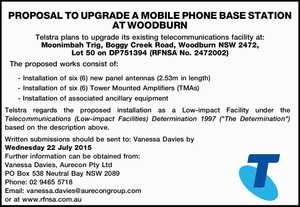 PROPOSAL TO UPGRADE A MOBILE PHONE BASE STATION AT WOODBURN Telstra plans to upgrade its existing telecommunications facility at: Moonimbah Trig, Boggy Creek Road, Woodburn NSW 2472, Lot 50 on DP751394 (RFNSA No. 2472002) The proposed works consist of: - Installation of six (6) new panel antennas (2.53m in length ...