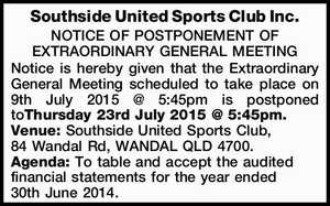 NOTICE OF POSTPONEMENT OF EXTRAORDINARY GENERAL MEETING