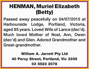 HENMAN, Muriel Elizabeth (Betty)