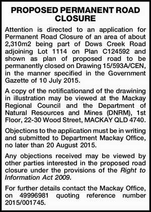 PROPOSED PERMANENT ROAD CLOSURE