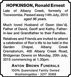HOPKINSON, Ronald Ernest