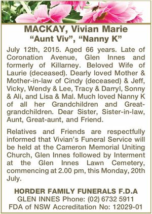 "MACKAY, Vivian Marie ""Aunt Viv"", ""Nanny K""