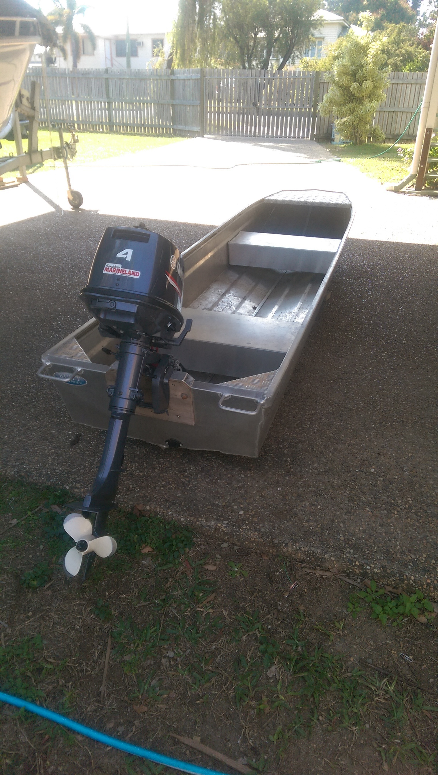 3.75m Blue Fin Tinoo (skinny tinny) with yamaha 4hp 2stroke outboard, 10months old in ex.cond. $1400.00 neg.