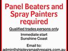Panel Beaters and Spray Painters required