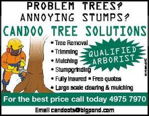 CANDOO TREE SOLUTIONS    Tree Removal  Trrimming  Mulching ARBORI  Stumpgrinding  Fully insured * Free quotes *  Large Large scale scale clearingmulching   For the best price call today 4975 7970 Email candoots@bigpond.com
