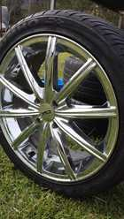 """For sale is a set of 4 stud chrome 17"""" × 8"""" CSA Alloy rims and low profile tyres.   They are quite new but have a few scuffs on the rims that are not too noticeable.  3 of the tyres are in near new condition with very good tread on them ..."""