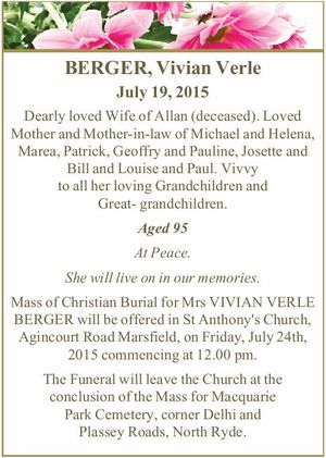 BERGER, Vivian Verle