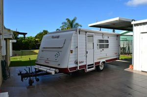 """Roadstar Voyager     1994 Series 2000  pop top, 16'6""""  single beds  3way fridge  gas stove, microwave  roll outawning, full annex  electric breaks + extras  registered  all good condition, must see!   $11,000   Ph (07) 41284225"""