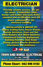 ELECTRICIAN INSTALLATION & REPAIR OF: Lights, Ceiling Fans, Power Points, Safety Switches, Oven and Hot Plate Repairs, Hot Water Systems, Commercial Catering Equipment, Building Rewires, New Home Wiring, Switch Boards, Electrical Alterations and Additions. 5933766aa Friendly reliable service, No job too small, Competitive rates, Senior card holder discount, Police checked and ...