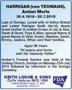 HARRIGAN (nee YEOMANS), Amber Merle 30.4.1919 - 20.7.2015 Late of Dorrigo. Loved wife of Arthur Bristol and Lester Harrigan (both dec'd), dearly loved mother & mother-in-law of Jan & Alex, Gwen & Grant, Faye & Allan, special Nanny & great-Nanny to Vicki, Karen, Stephen, Sarah, Emma, Jessica, Ethan and their families ...